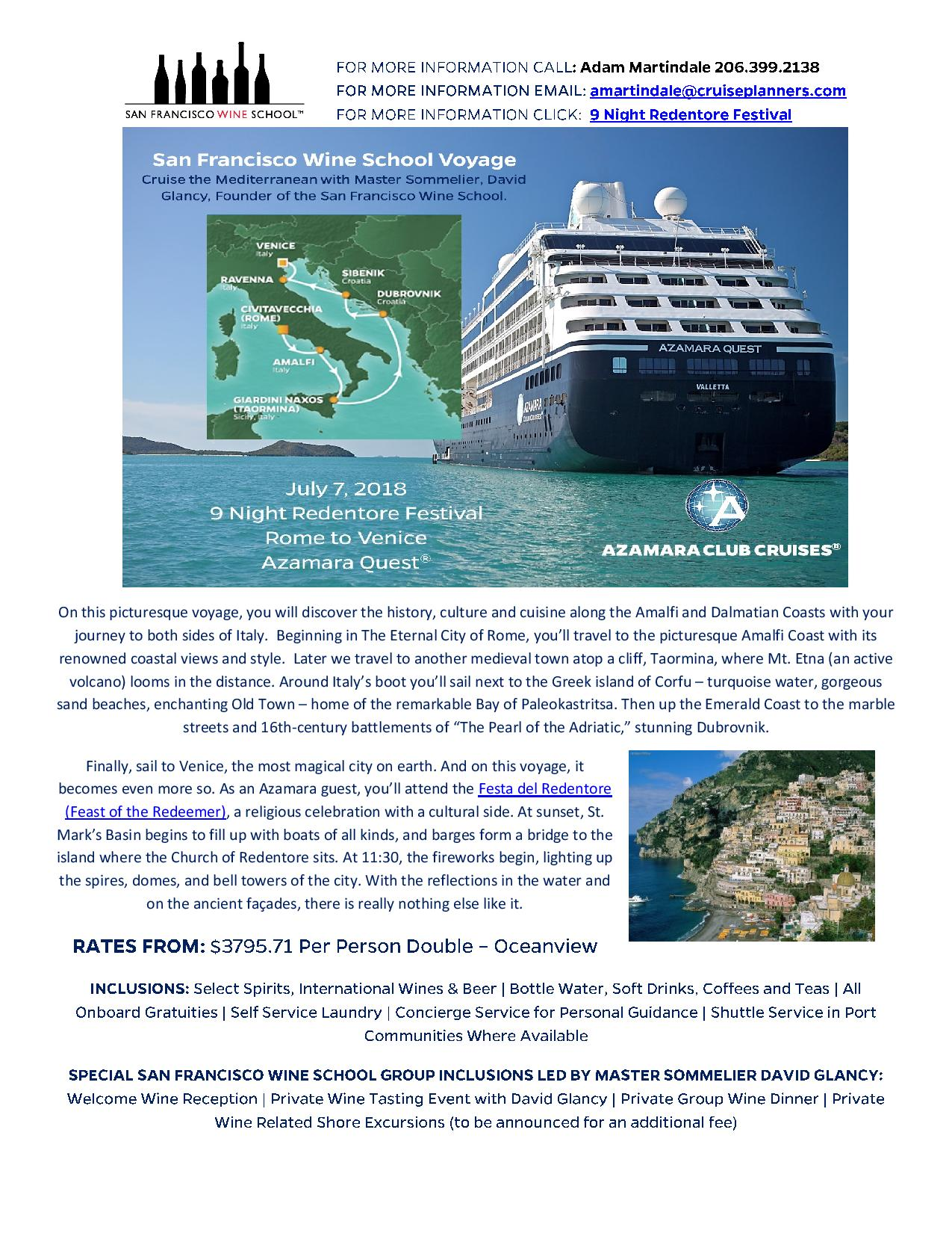 Wine Education Cruise to Italy & Croatia with David Glancy, MS July 7-16