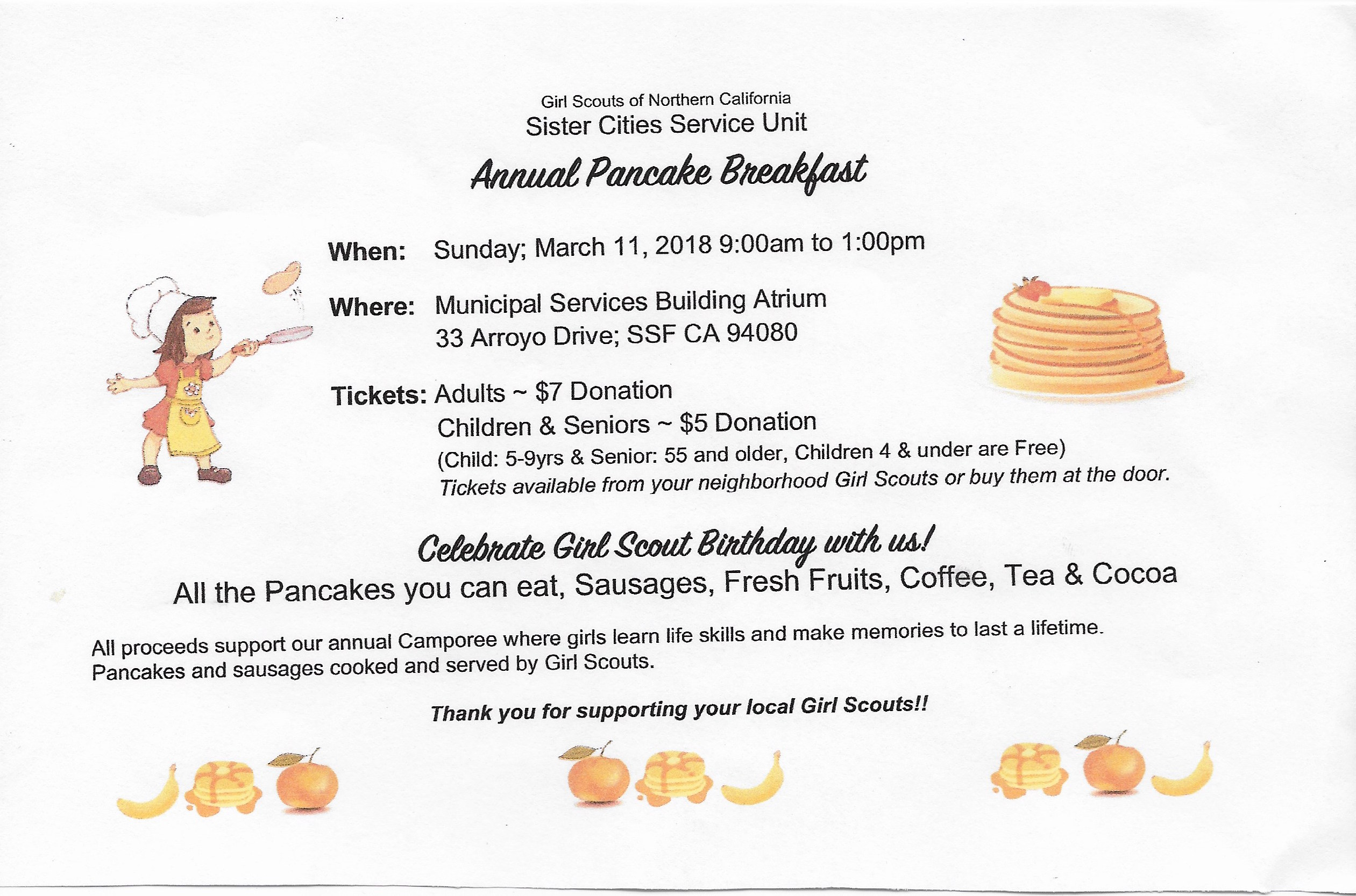 Girl Scout Pancake Breakfast Fundraiser Set For Sunday March 11th at the MSB
