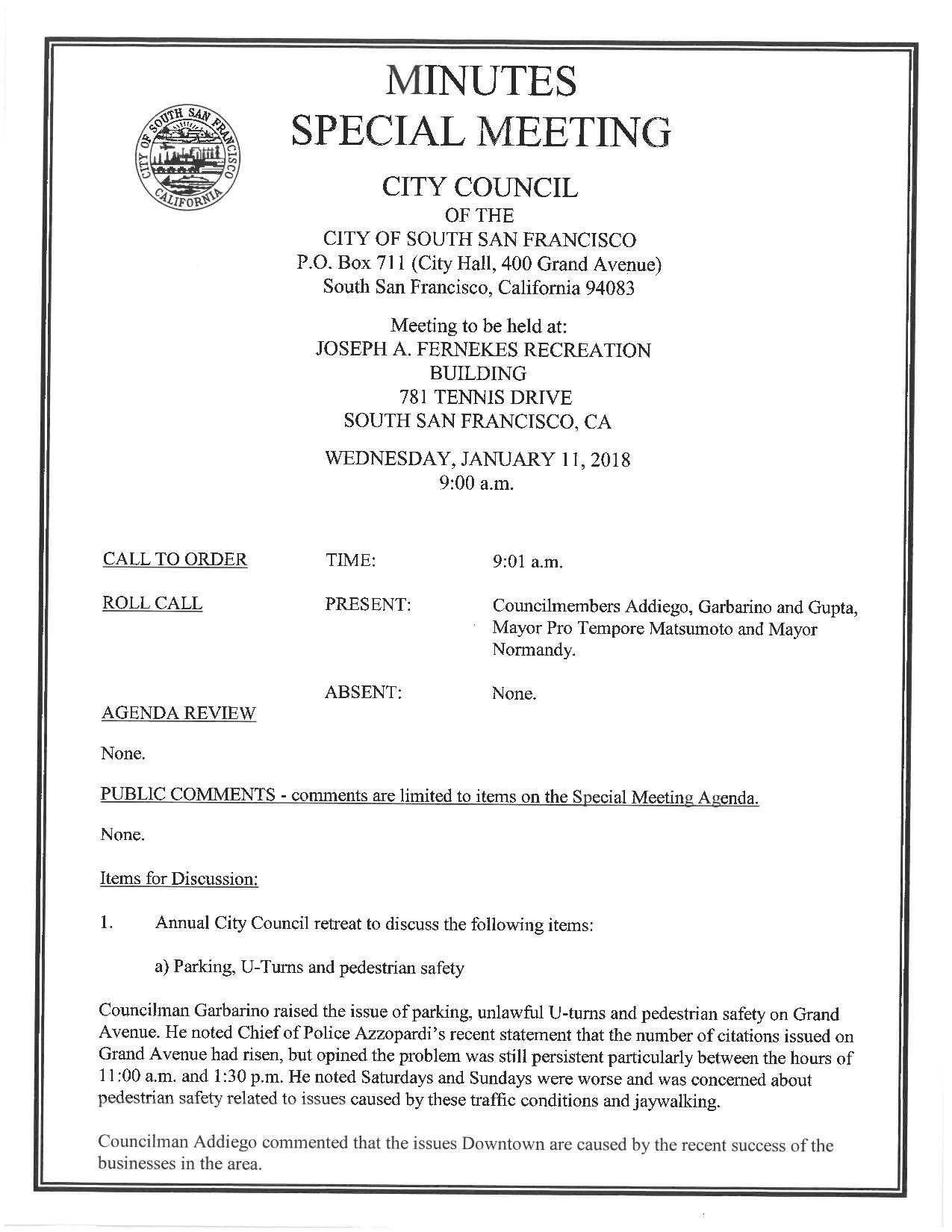 City Council Special Meeting 'Retreat' January 11, 2018 Minutes