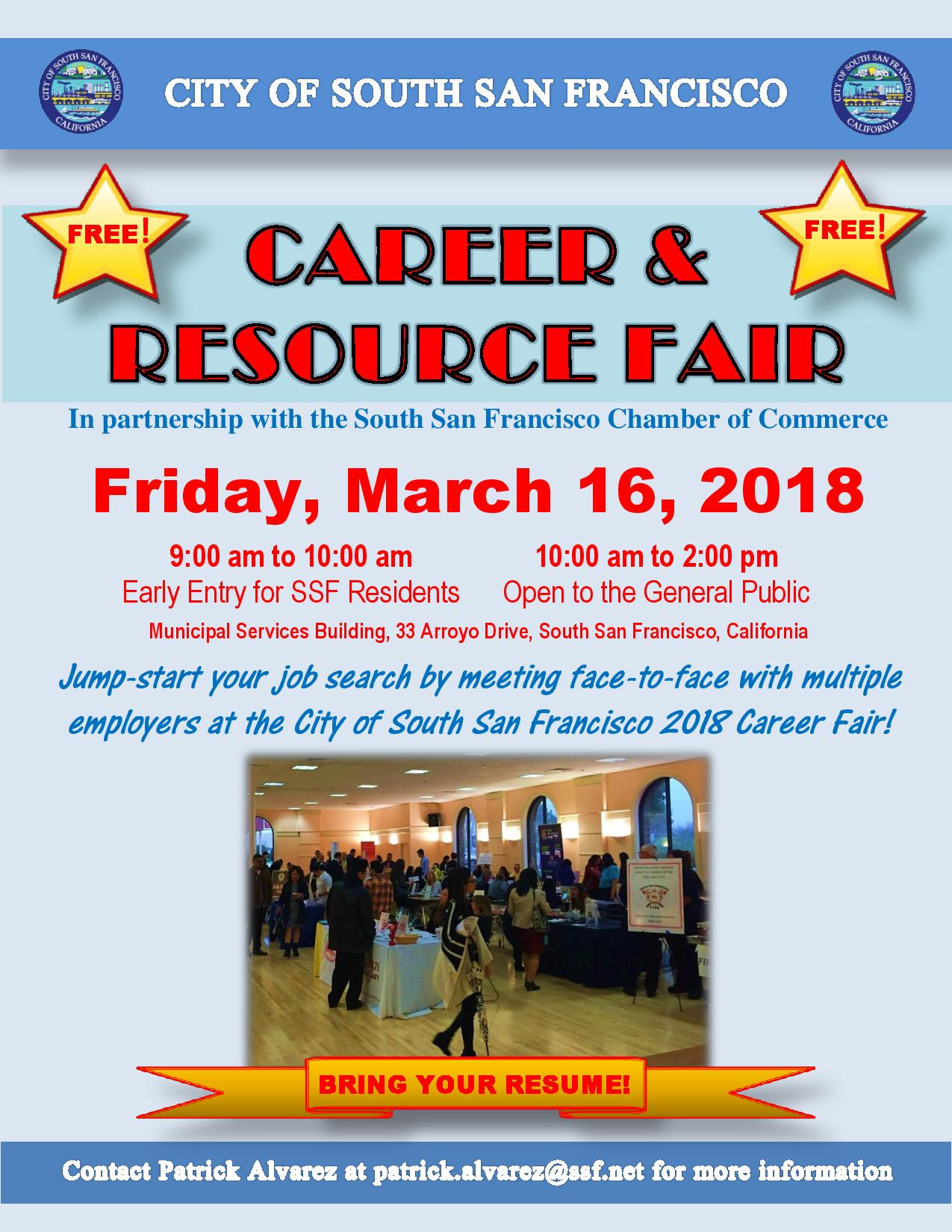City of South San Francisco Career and Resource Fair March 16th at MSB