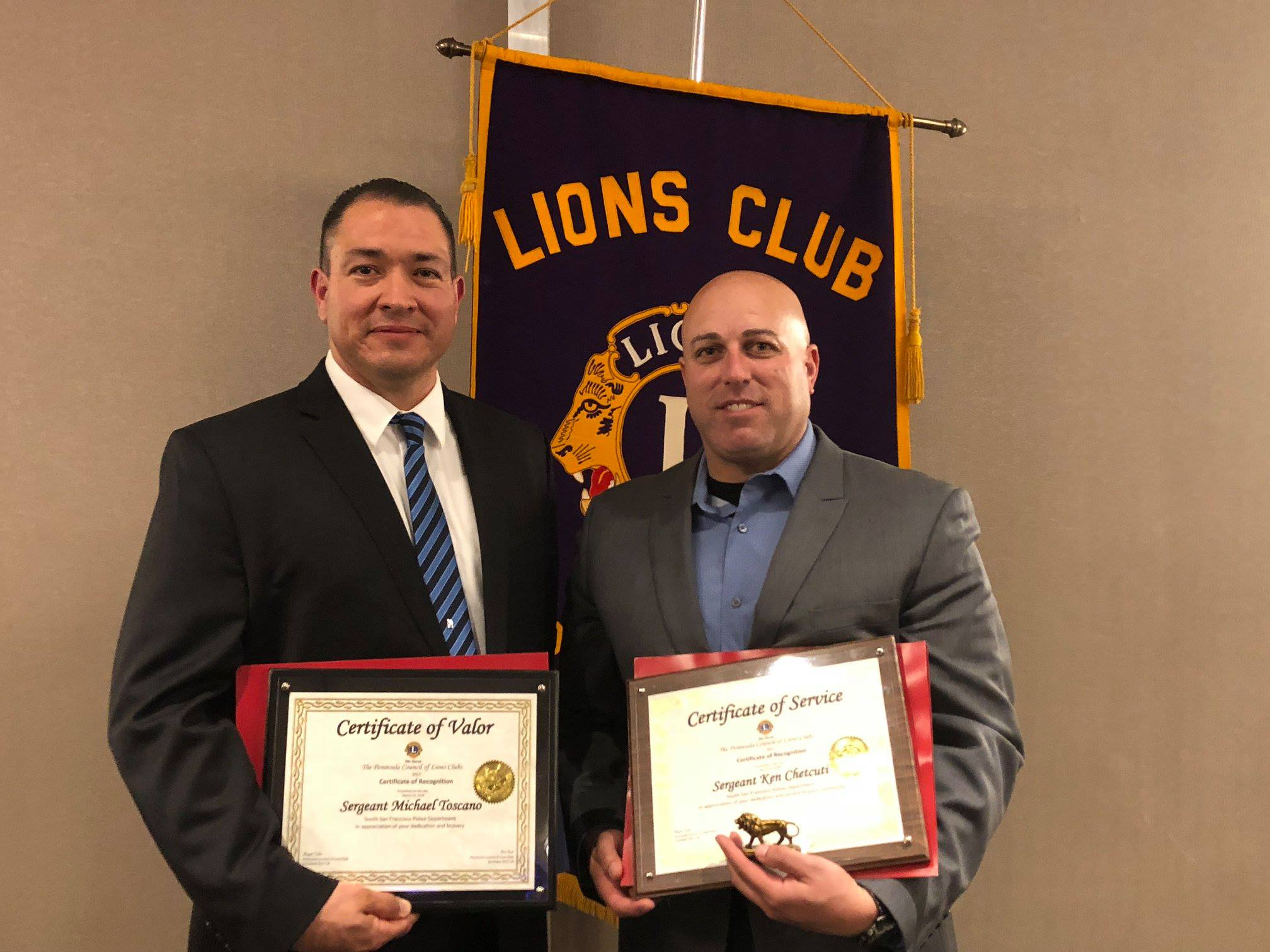Peninsula Council of Lions Clubs Award South San Francisco Police Sergeants Chetcuti and Toscano at Annual Ceremony