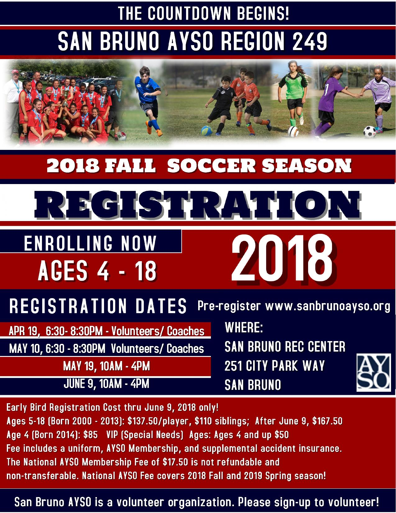 San Bruno AYSO Soccer Announces Fall 2018 Season Registration Starts April 19th