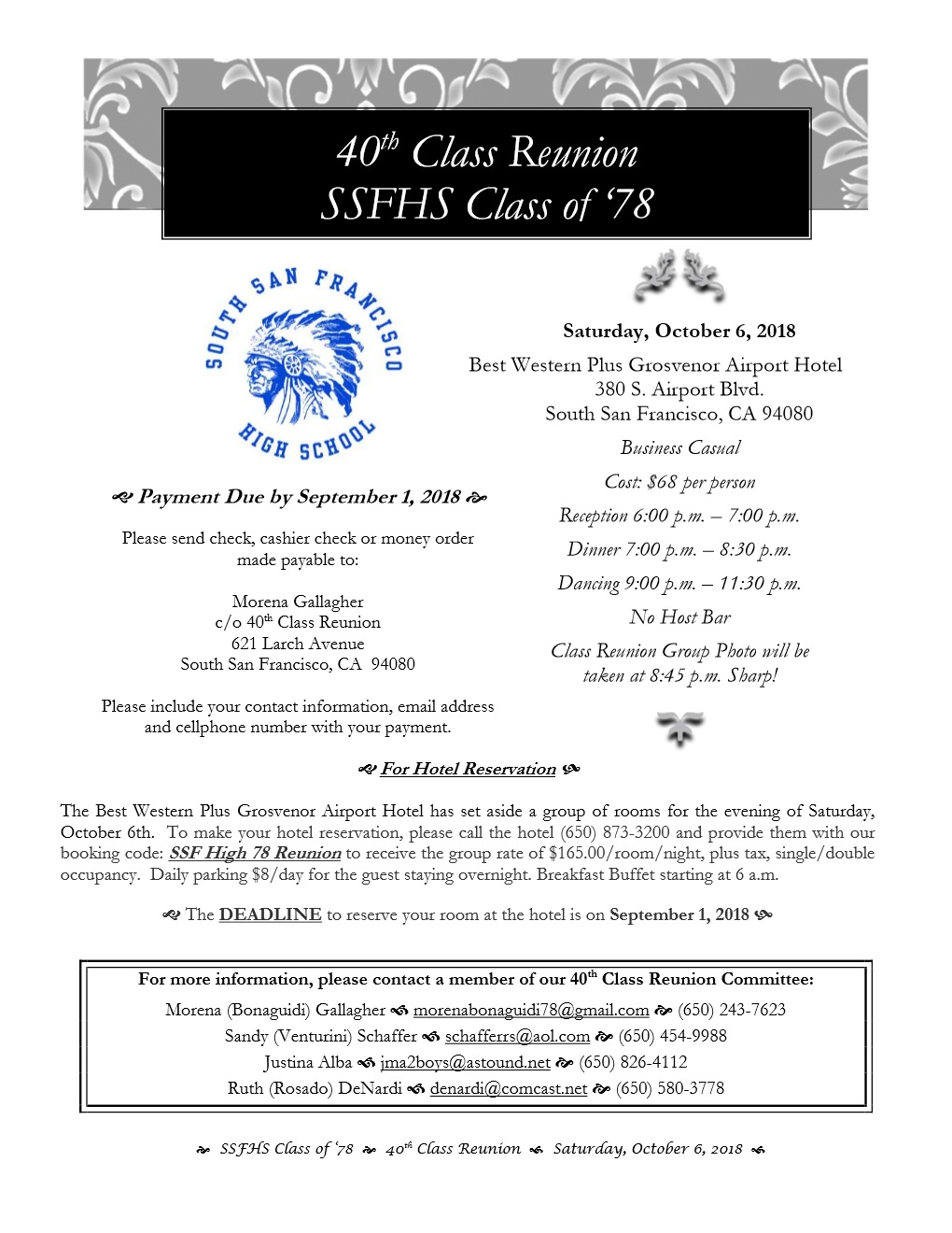 SSFHS 40th Class Reunion Set for October 6th at Best Western Grosvenor Hotel