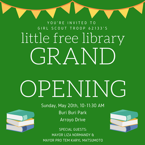 Girl Scout Troop 62133 Creates Three 'Little Free Libraries' With Cookie Sale Money: Grand Opening Sunday May 20th at Buri Buri Park
