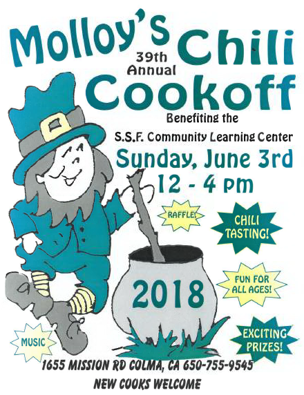 MOLLOYS 39th Annual CHILI COOK OFF June 3rd: South City's Favorite FUNdraiser!