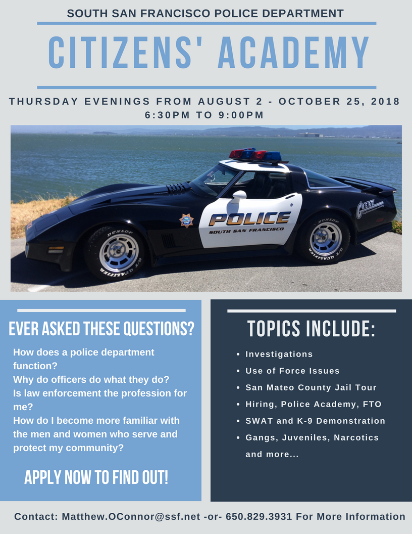 Citizens' Police Academy Starting August 2, 2018 – Register Today!