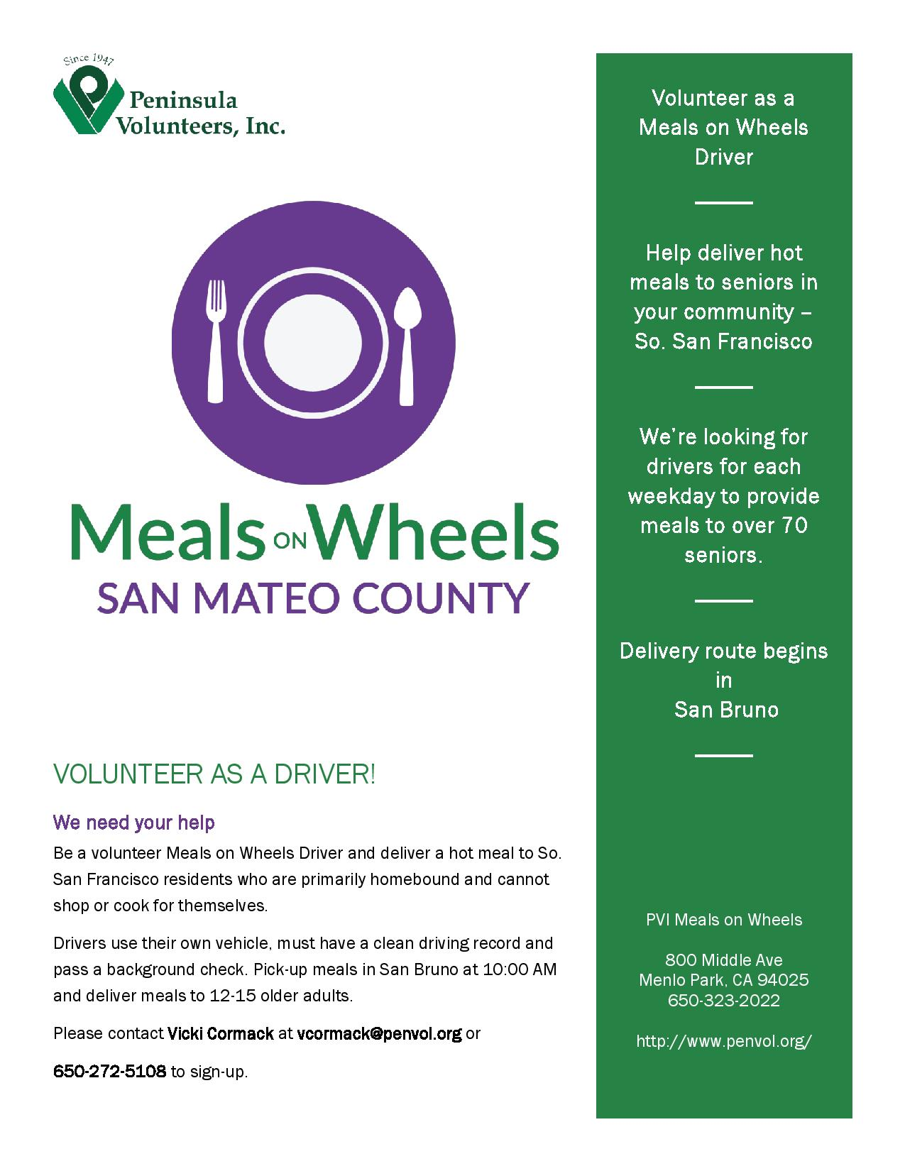 Make a BIG Difference in the Life of a Home-bound South San Francisco Neighbor: Become a Volunteer with Meals on Wheels