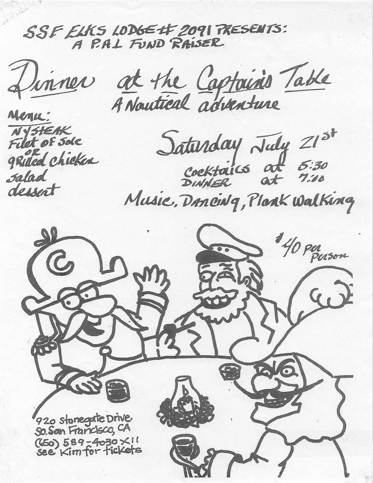 ELKS Sponsored PAL Fundraiser: Dinner at the Captains Table and Nautical Adventures set for July 21st