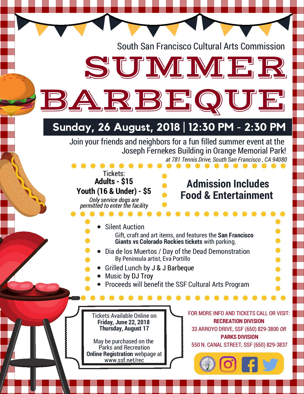 South San Francisco Cultural Arts Announce Summer BBQ Set for Sunday August 26th