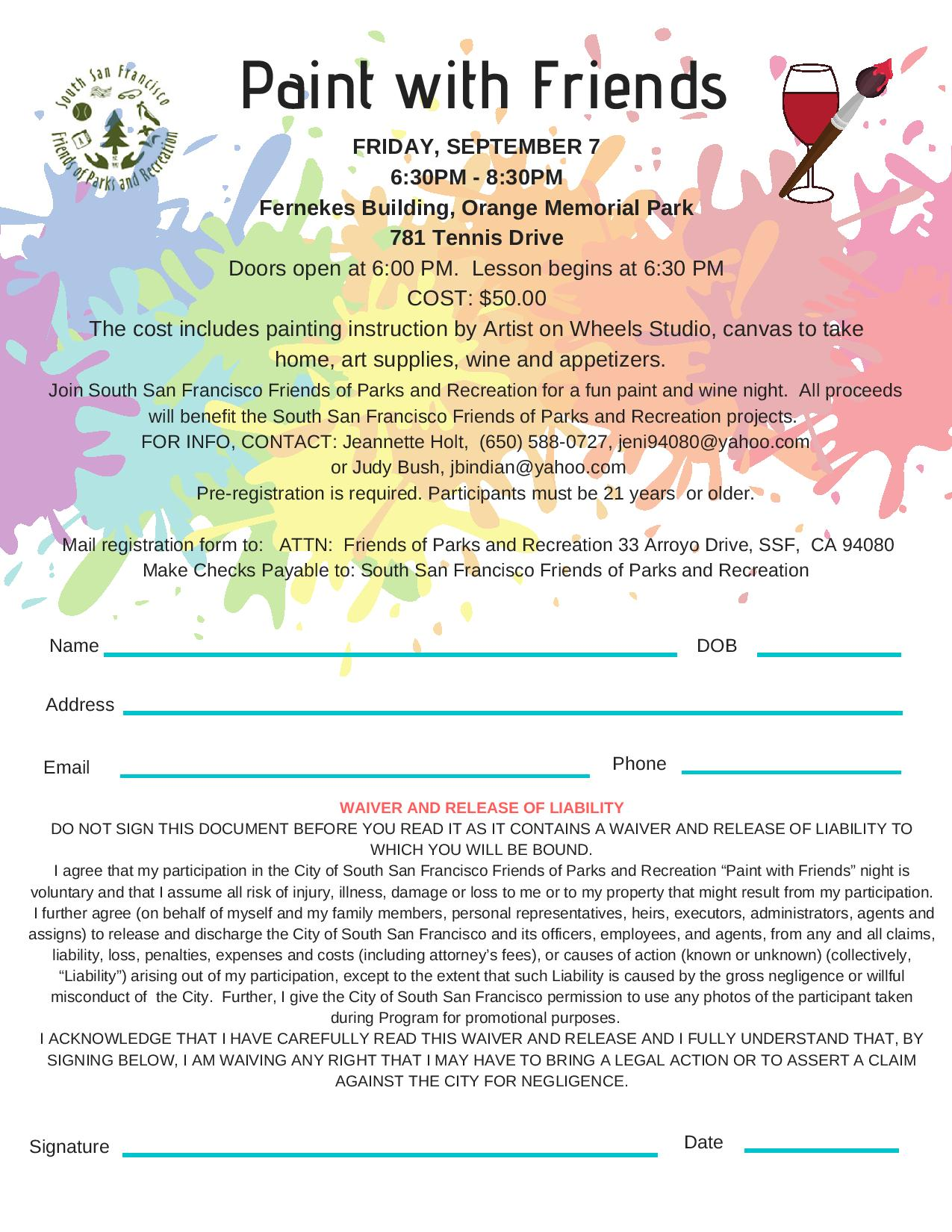 Friends of Parks and Recreation Announce Paint With Friends Night Friday September 7th at Orange Memorial Park