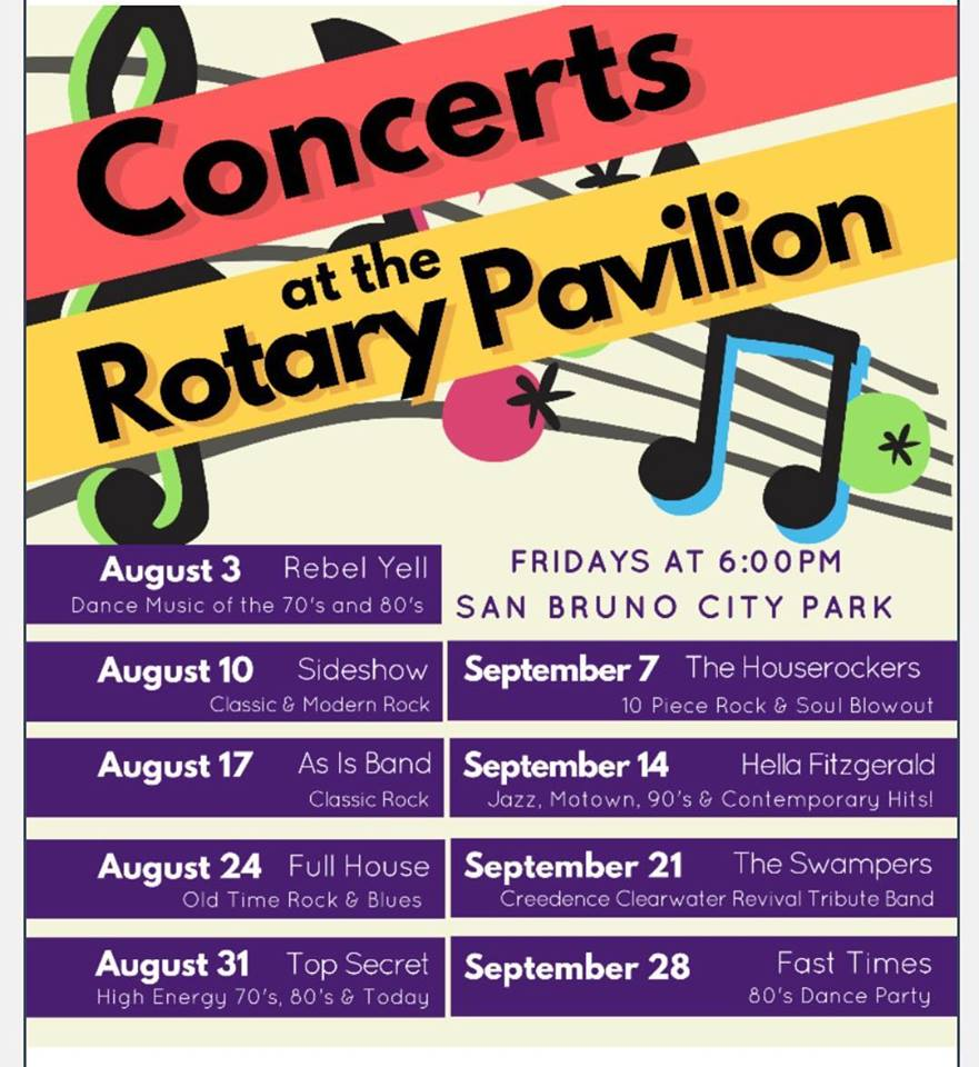 San Bruno Concerts at the Pavilion Series Set for Friday Evenings