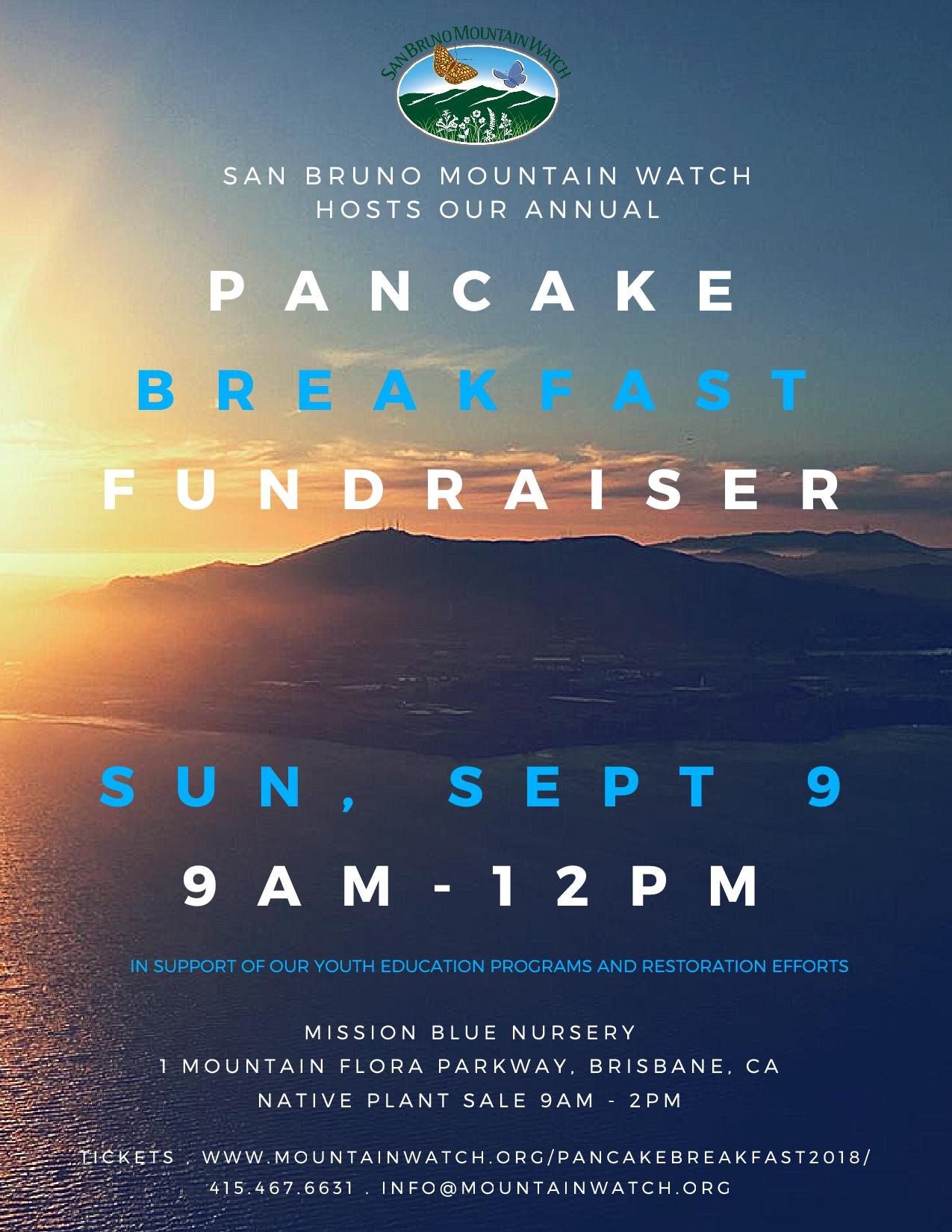 San Bruno Mountain Watch Annual Pancake Breakfast and Plant Sale Sept 9th