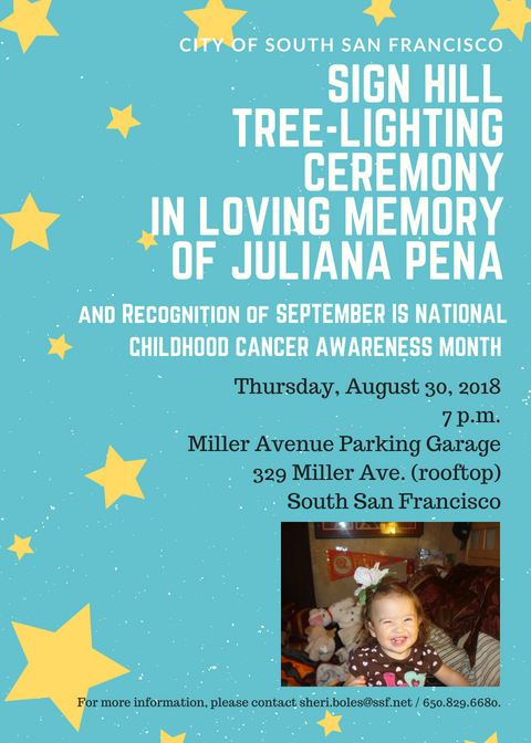 Sign Hill Tree Lights Up for September Childhood Cancer Awareness Month Honoring Juliana Pena, Our Princess Warrior