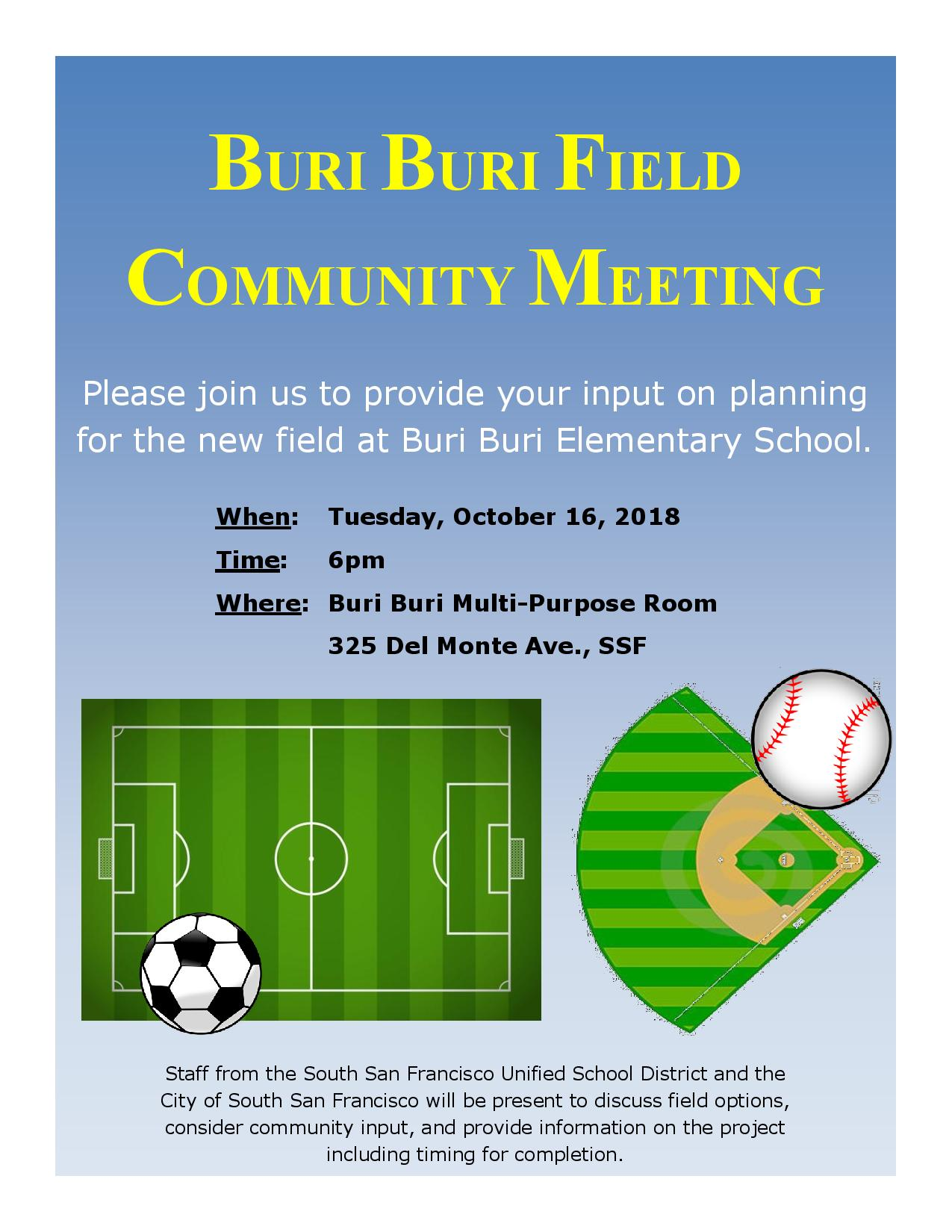 Buri Buri Field Meeting Set for October 16th