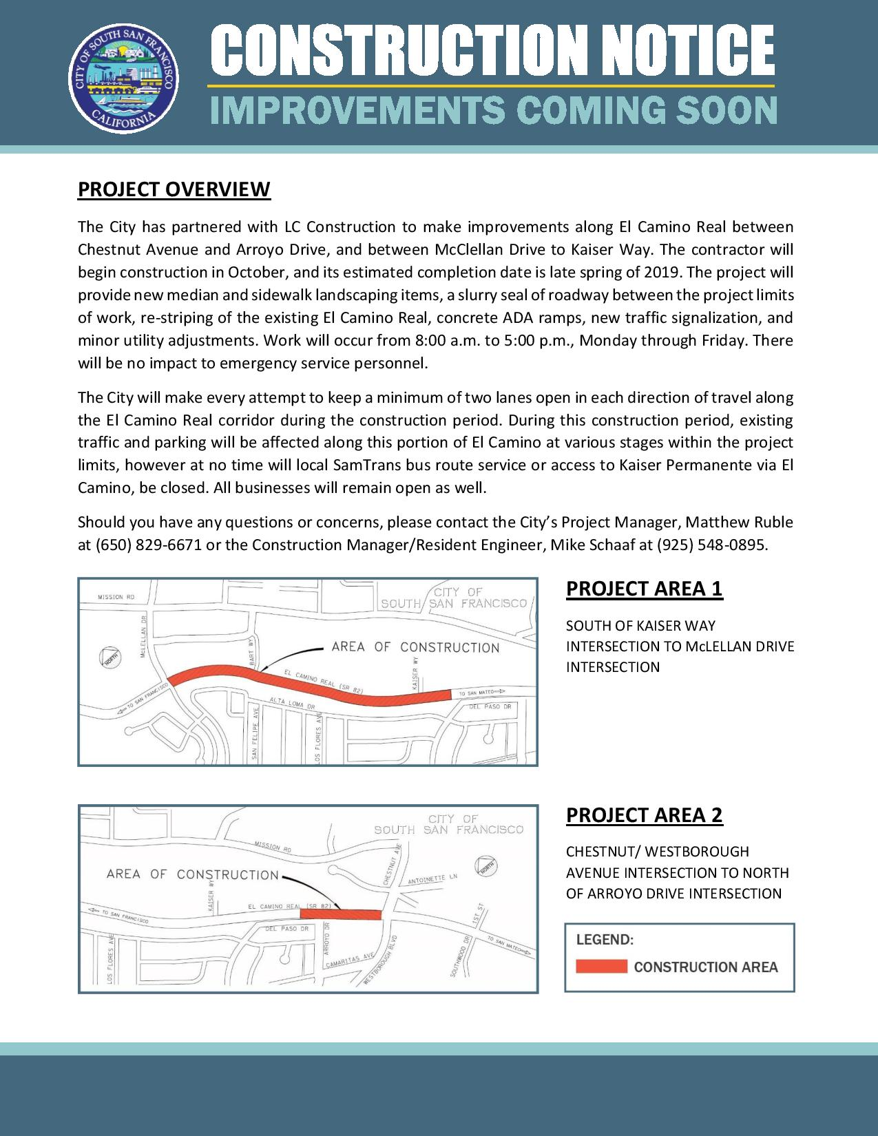 El Camino Real Construction Notice: TRAFFIC IMPACTS  Between Chestnut to Arroyo, McClellan to Kaiser