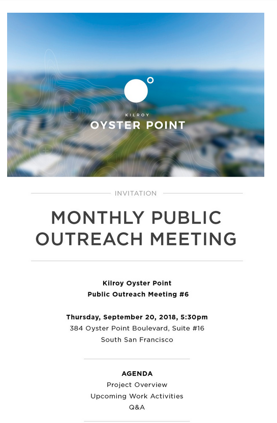 Public Invited to Kilroy Oyster Point Monthly Public Outreach Meeting Set for September 20th