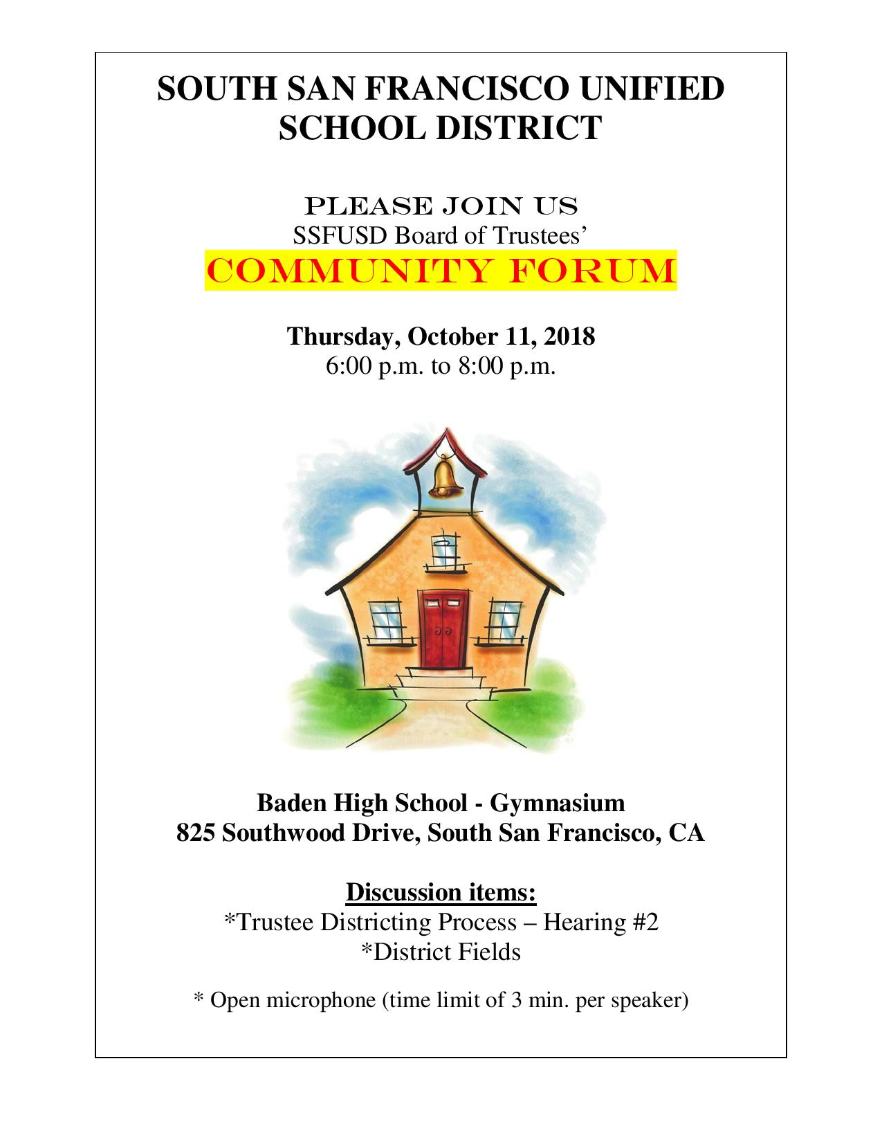SSFUSD Board Meeting – Community Forum Set for October 11th 6p-8p