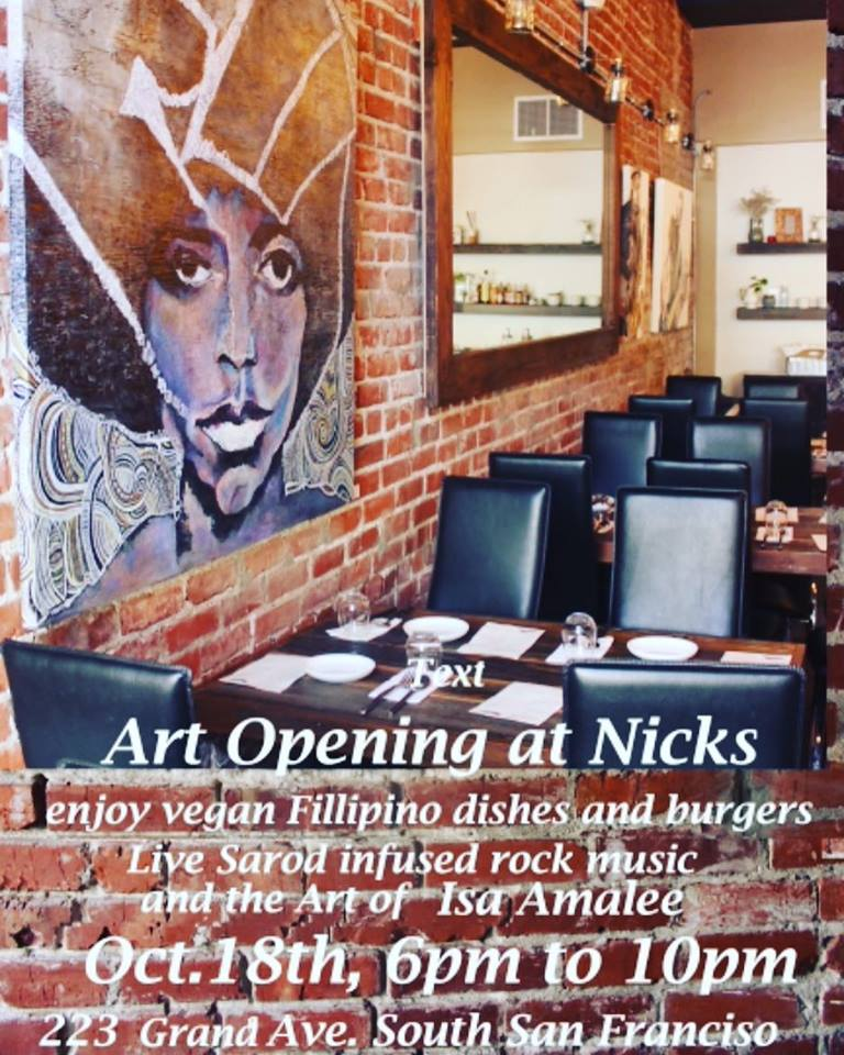 Art Opening at Nick's on Grand Thursday Oct 18th: Great Opportunity to Check Out New Eatery – Vegan Fillipino