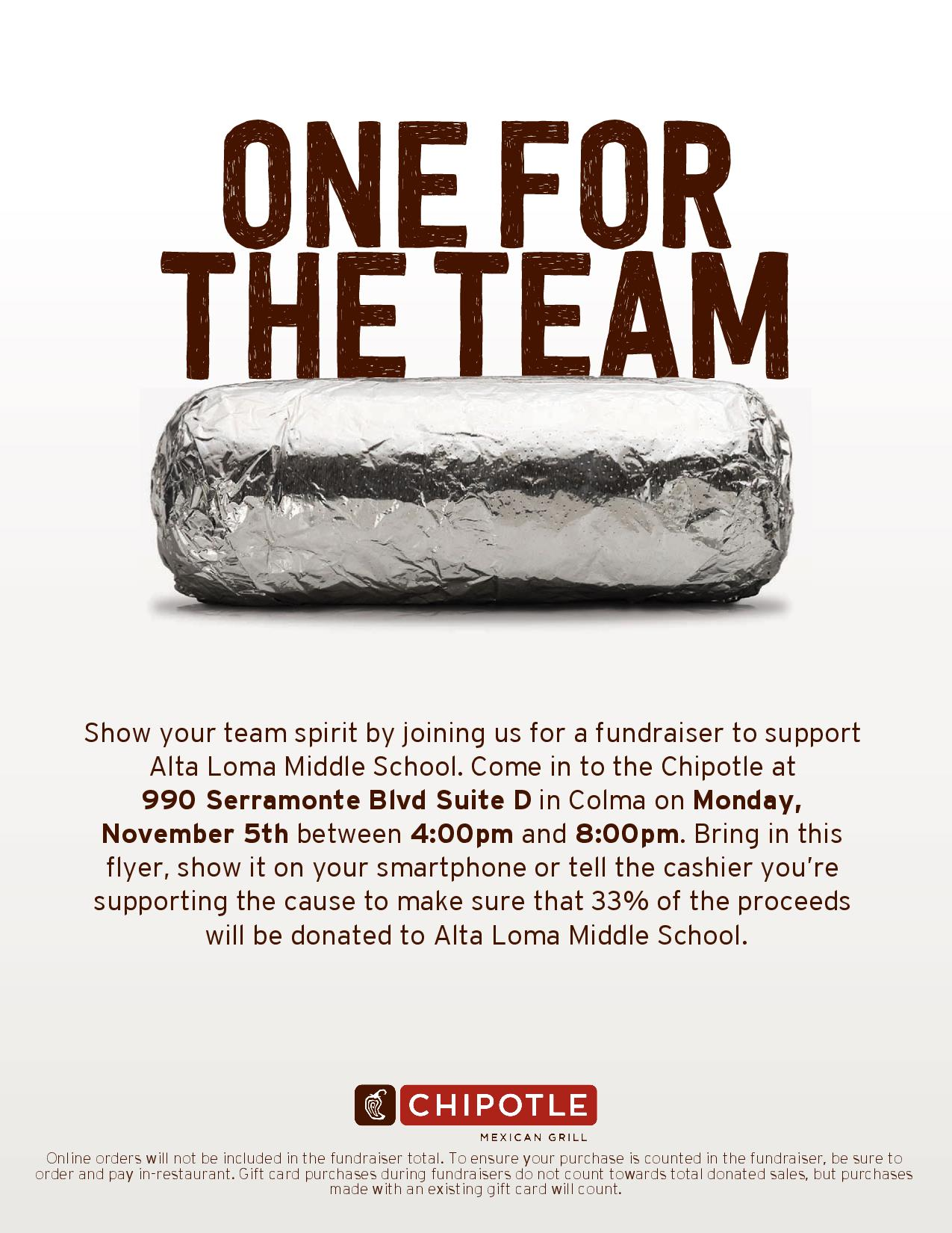 Colma Chipotle to Sponsor Alta Loma Middle School FUNdraiser on November 5th