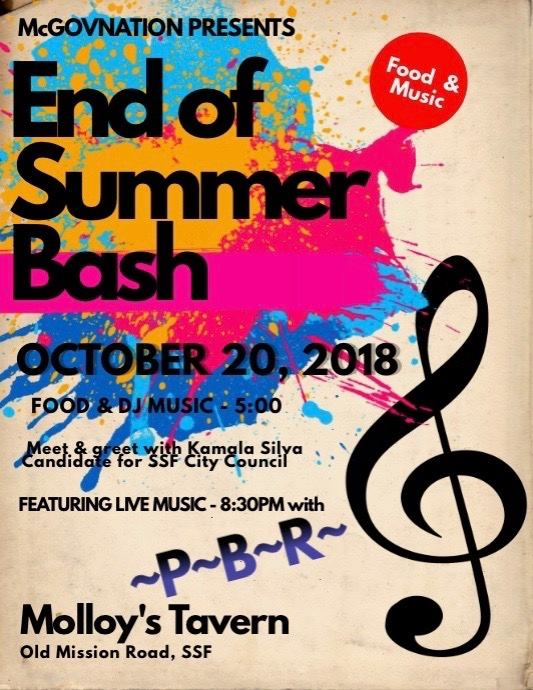 McGOVNATION Presents End of Summer Bash at Molloy's Oct 20th