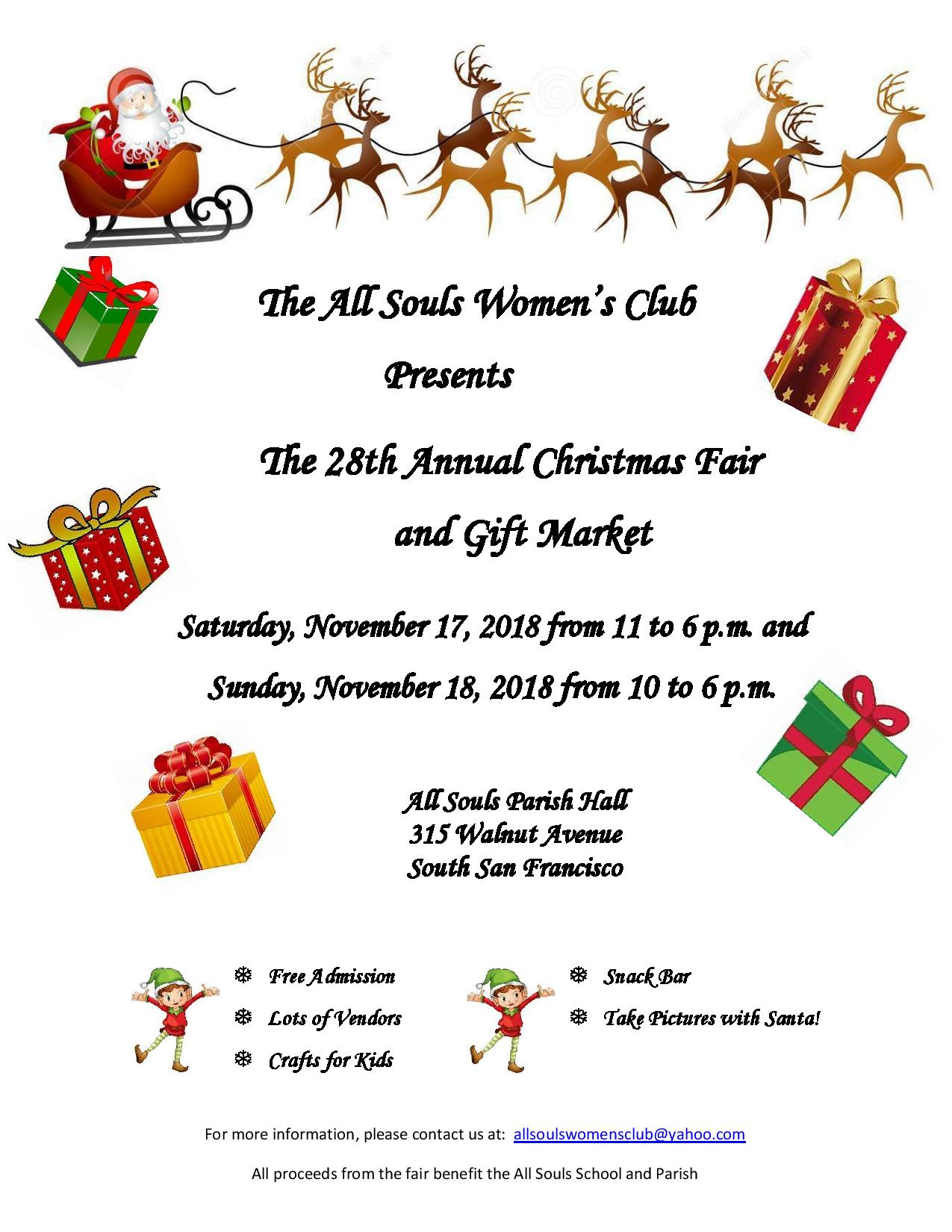 All Souls Women's Club Christmas Fair and Gift Market Set for November 17 and 18