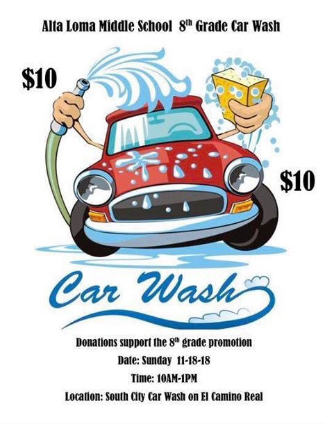 South City Car Wash to FUNdraise for Alta Loma Middle School 8th Graders on Sunday November 18th